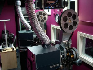 35mm cinema projectors in a changeover installation